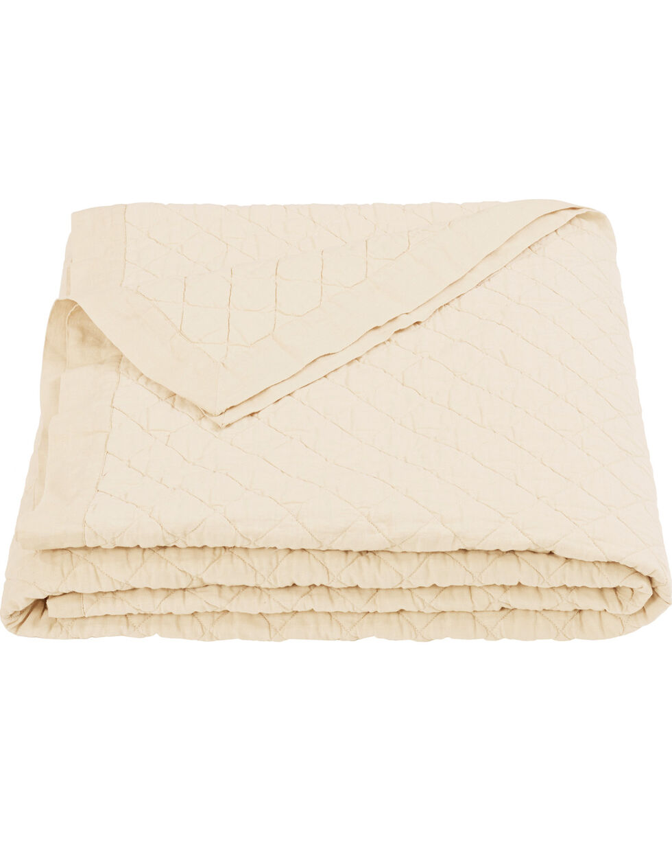 HiEnd Accents Diamond Pattern Cream Linen King Quilt, Cream, hi-res