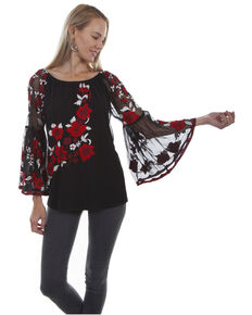 Honey Creek by Scully Women's Mesh Lined Floral Embroidered Blouse  , Black, hi-res