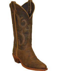 """Abilene Women's 12"""" Distressed Crunched Western Boots, Brown, hi-res"""