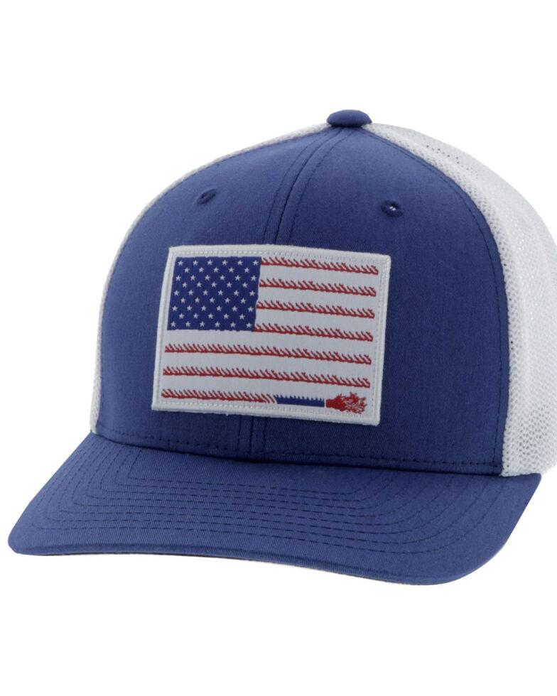HOOey Men's Blue Liberty Roper Fitted Flex Fit Cap , Blue, hi-res