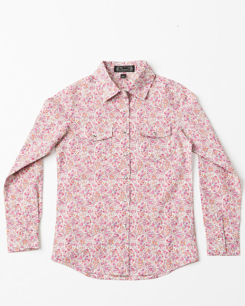 Shyanne Girls' Ditsy Paisley Print Long Sleeve Western Shirt , Pink, hi-res
