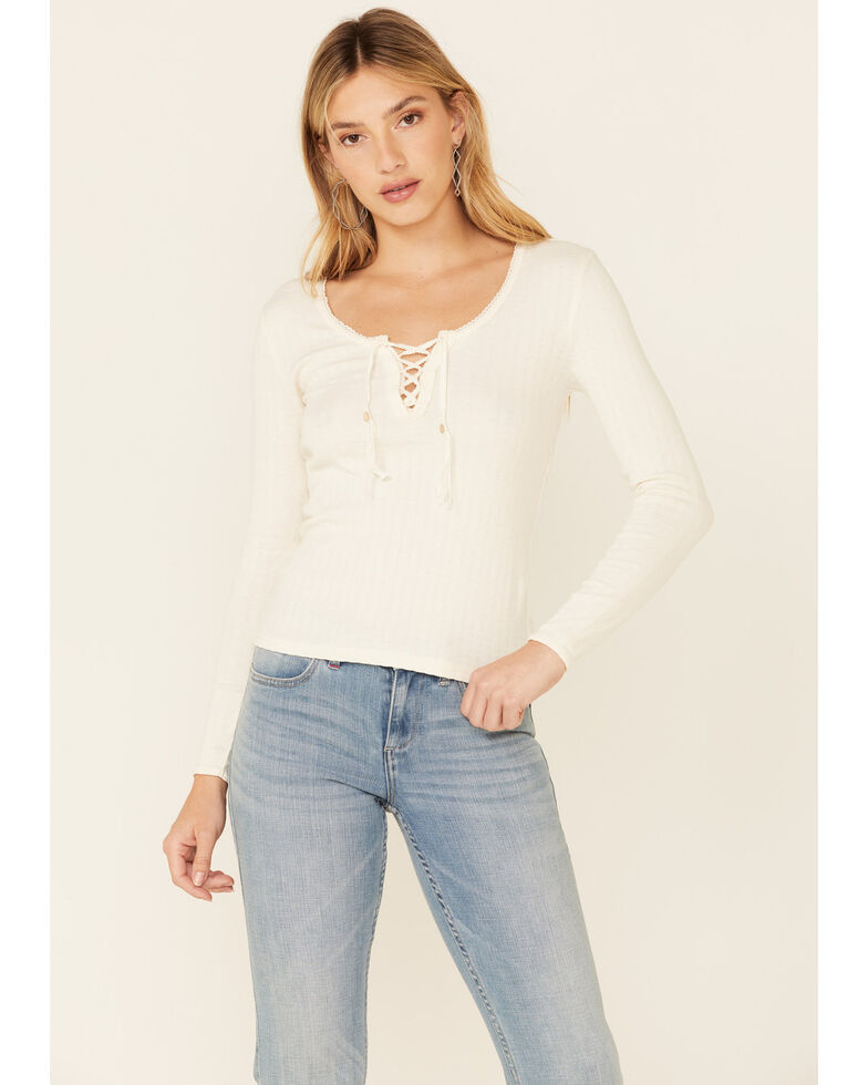 Idyllwind Women's Off-White Country Road Lace-Up Top , Off White, hi-res