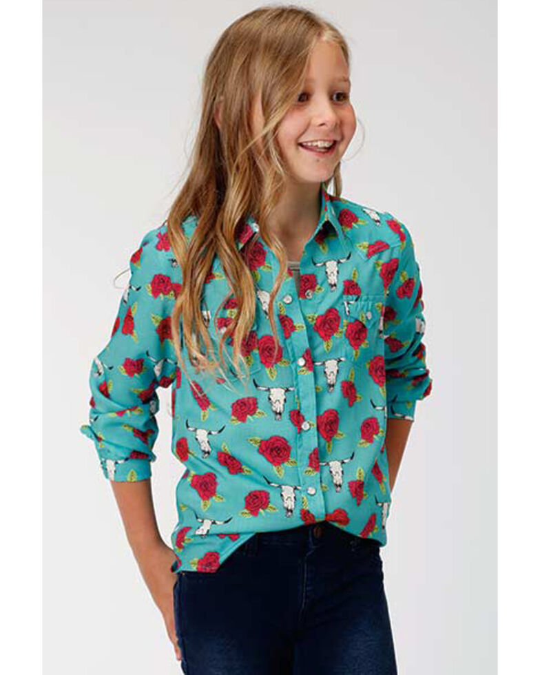 Five Star Girls' Rose & Longhorn Skull Snap Long Sleeve Western Shirt, Turquoise, hi-res