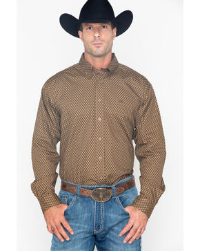 Cinch Men's Tan Crossed Print Western Shirt , Tan, hi-res
