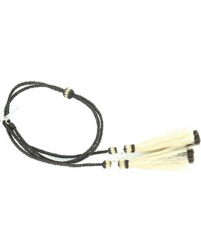 Black Braided Horsehair Tassels Stampede String, Black, hi-res