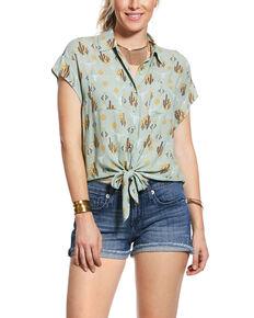 Ariat Women's Sun Kissed Short Sleeve Western Shirt  , Sage, hi-res