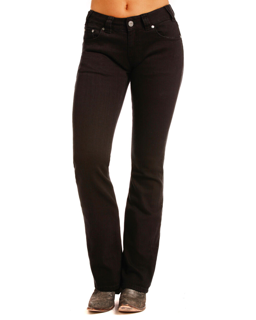 Rock & Roll Cowgirl Women's Black Crossing Flat Jeans - Boot Cut , Black, hi-res