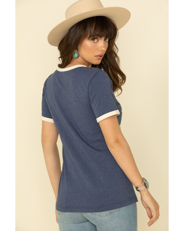 Wrangler Retro Women's Navy American Way Ringer Tee, Navy, hi-res