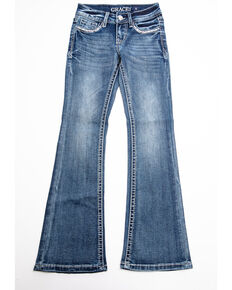 Grace in LA Girls' Scattered Aztec Bootcut Jeans, Blue, hi-res