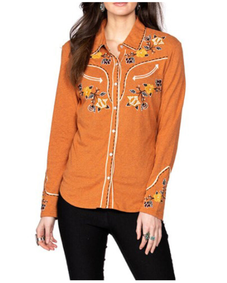 Double D Ranch Women's Velenda Embroidered Long Sleeve Top, Rust Copper, hi-res