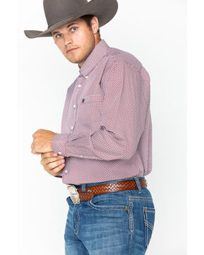 Cinch Men's Burgundy Long Sleeve Western Shirt , Burgundy, hi-res