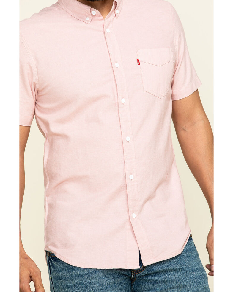 Levis' Men's Pink Rowney Dobby Plaid Short Sleeve Western Shirt , Pink, hi-res