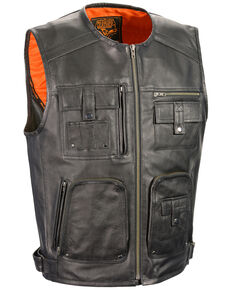 Milwaukee Leather Men's Zipper Front Super Utility Multi Pocket Vest - 3X, Black, hi-res