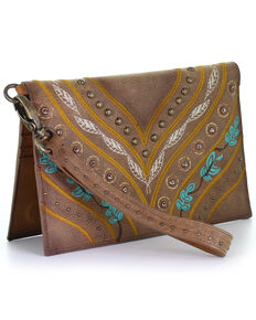 Corral Women's Multicolor Embroidery With Crystals Wallet, Tan, hi-res
