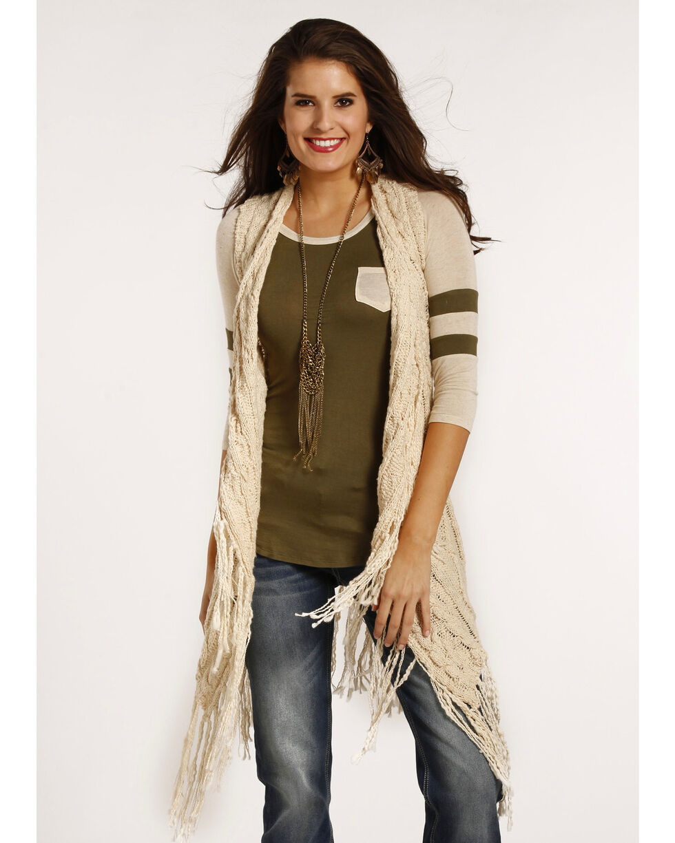 Powder River Outfitters Women's Slim Fringe Sweater Vest , Cream, hi-res