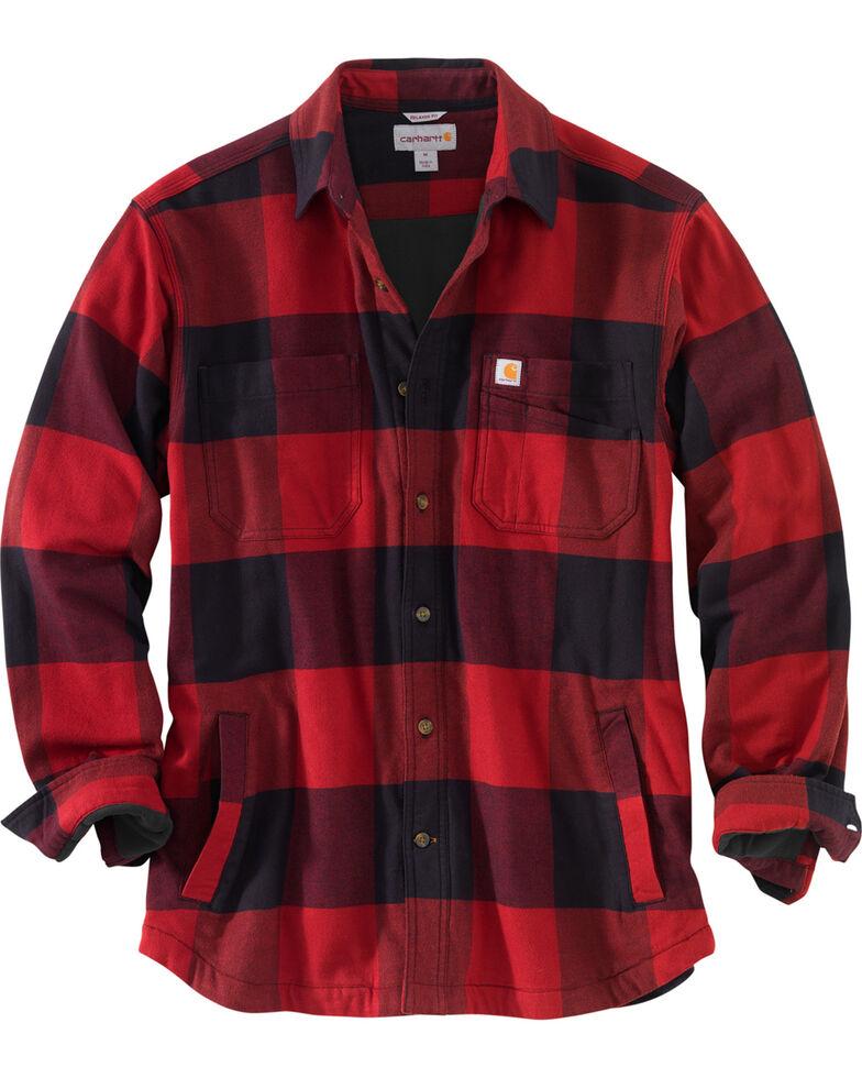 Carhartt Men's Rugged Flex Hamilton Fleece-Lined Shirt , Dark Red, hi-res