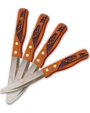 Moss Brothers Laser Engraved Running Horses Steak Knife 4-Piece Set  , Med Brown, hi-res