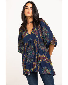 Free People Women's Girl Talk Tunic, Navy, hi-res