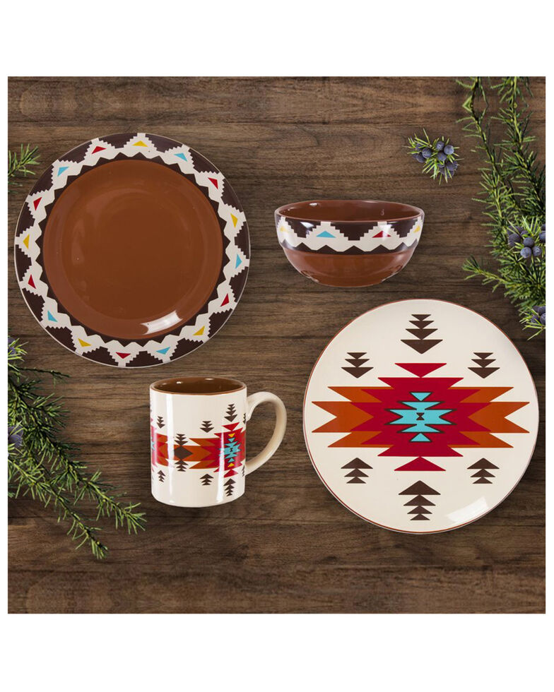 HiEnd Accents Del Sol 16pc Ceramic Dinnerware Set, Red, hi-res