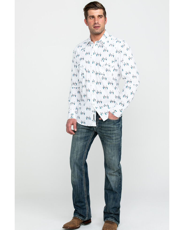 Rock & Roll Cowboy Men's Bull Skull Print Long Sleeve Western Shirt , Charcoal, hi-res