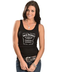Jack Daniel's Women's Label Tank Top, Black, hi-res