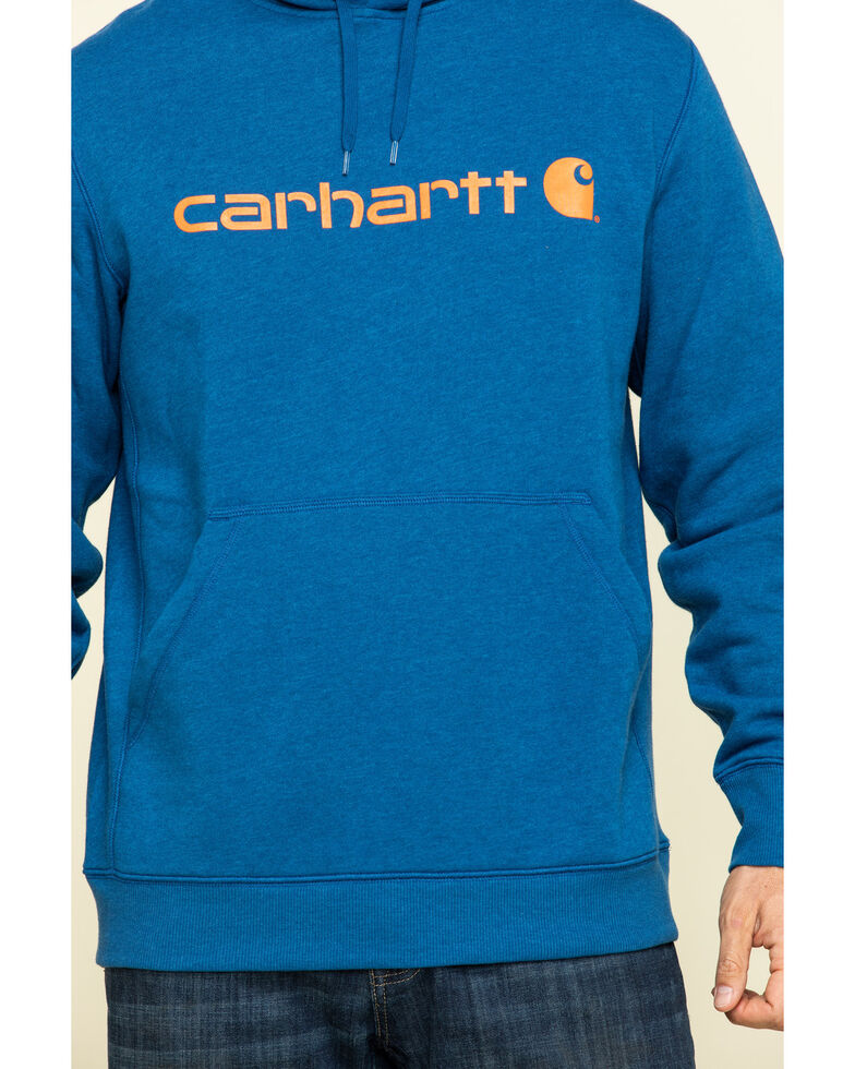 Carhartt Men's Blue Force Delmont Signature Graphic Hooded Work Sweatshirt - Big , Blue, hi-res
