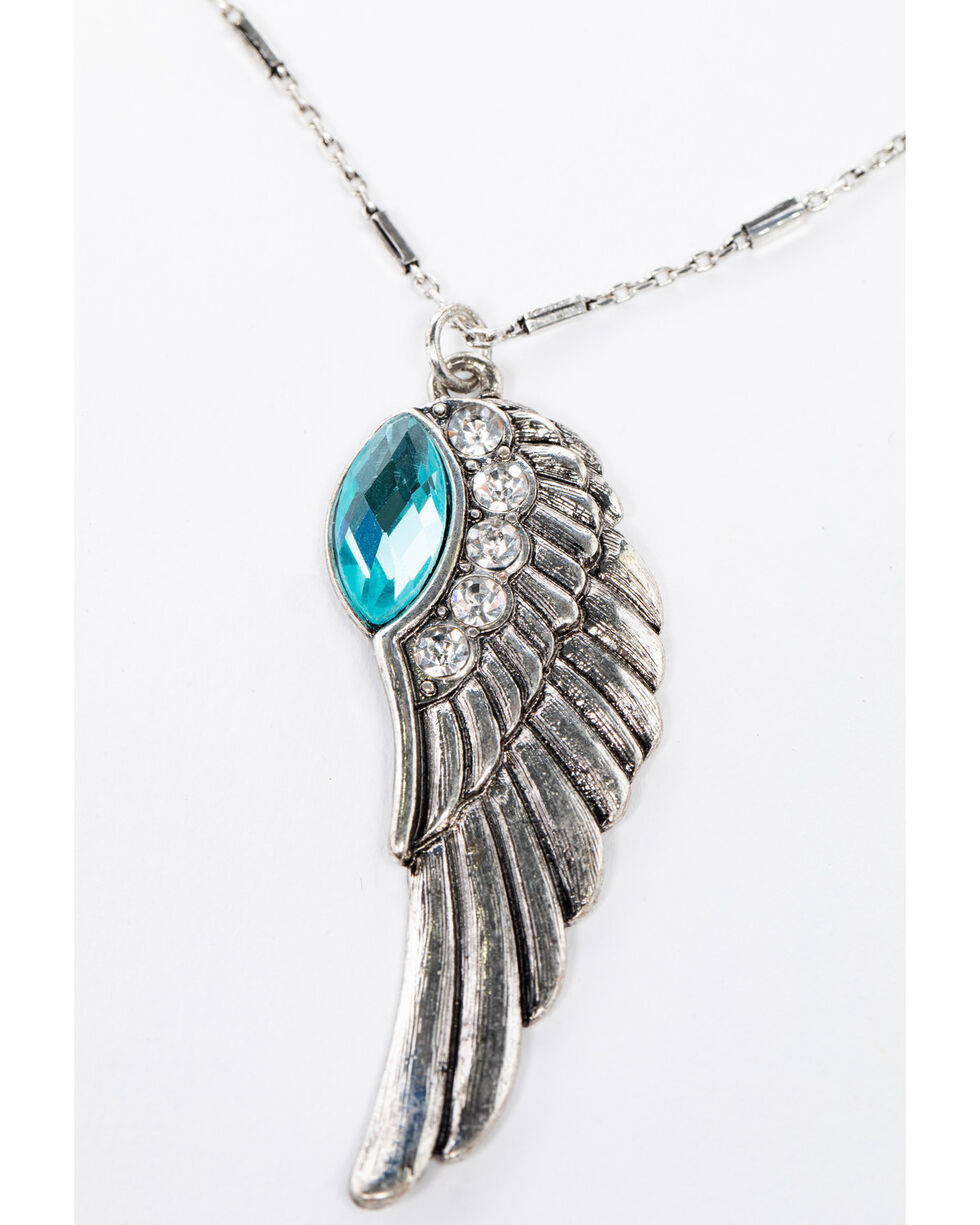 Shyanne Women's Isla Jane Turquoise Wing Necklace Set, Silver, hi-res