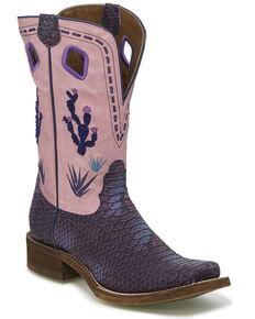 Nocona Women's Sedinia Python Print Western Boots - Square Toe, Multi, hi-res