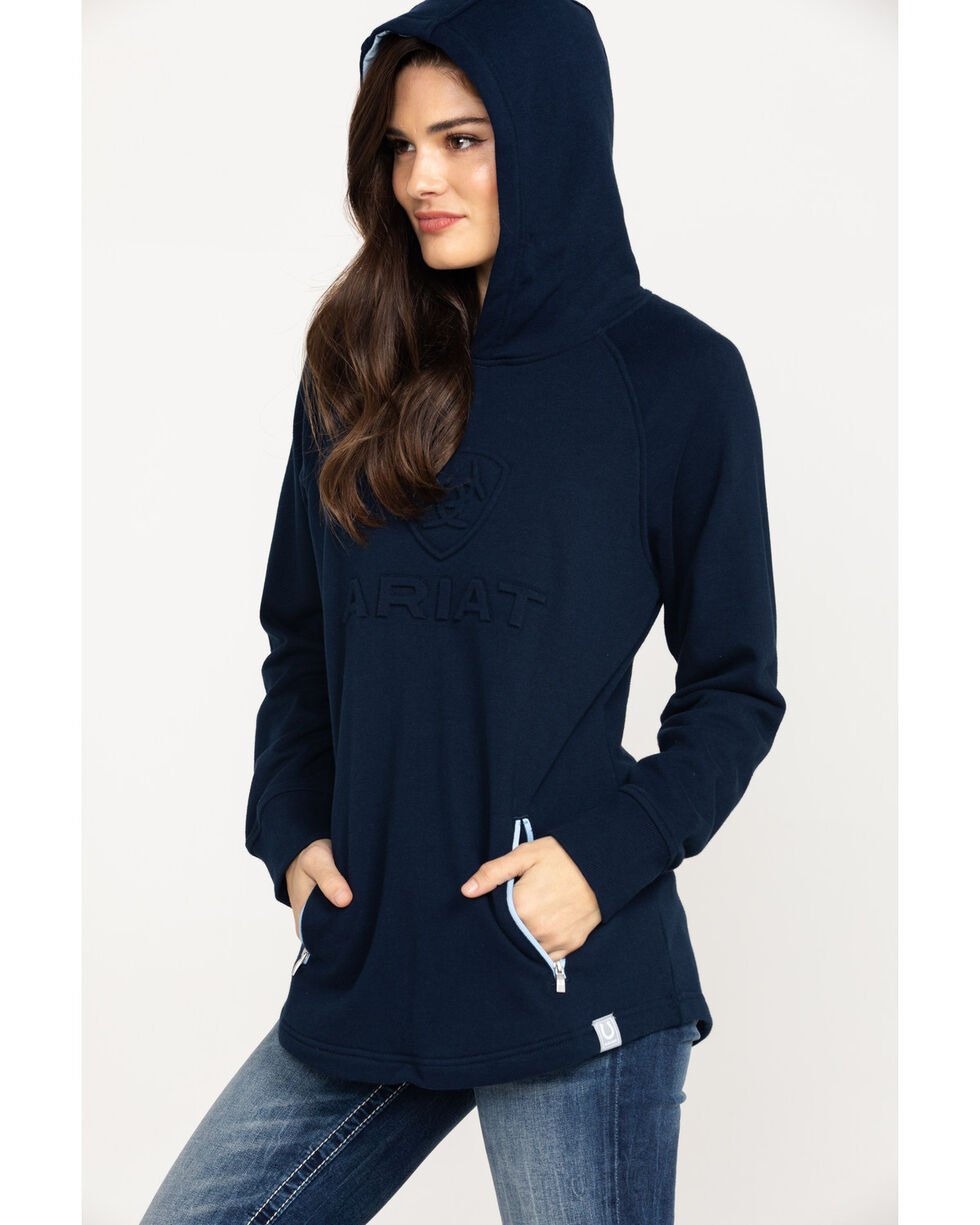 Ariat Women's Navy 3D Logo Hoodie, Navy, hi-res