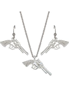 Montana Silversmiths Rhinestone Pistol Necklace & Earrings Set, Silver, hi-res