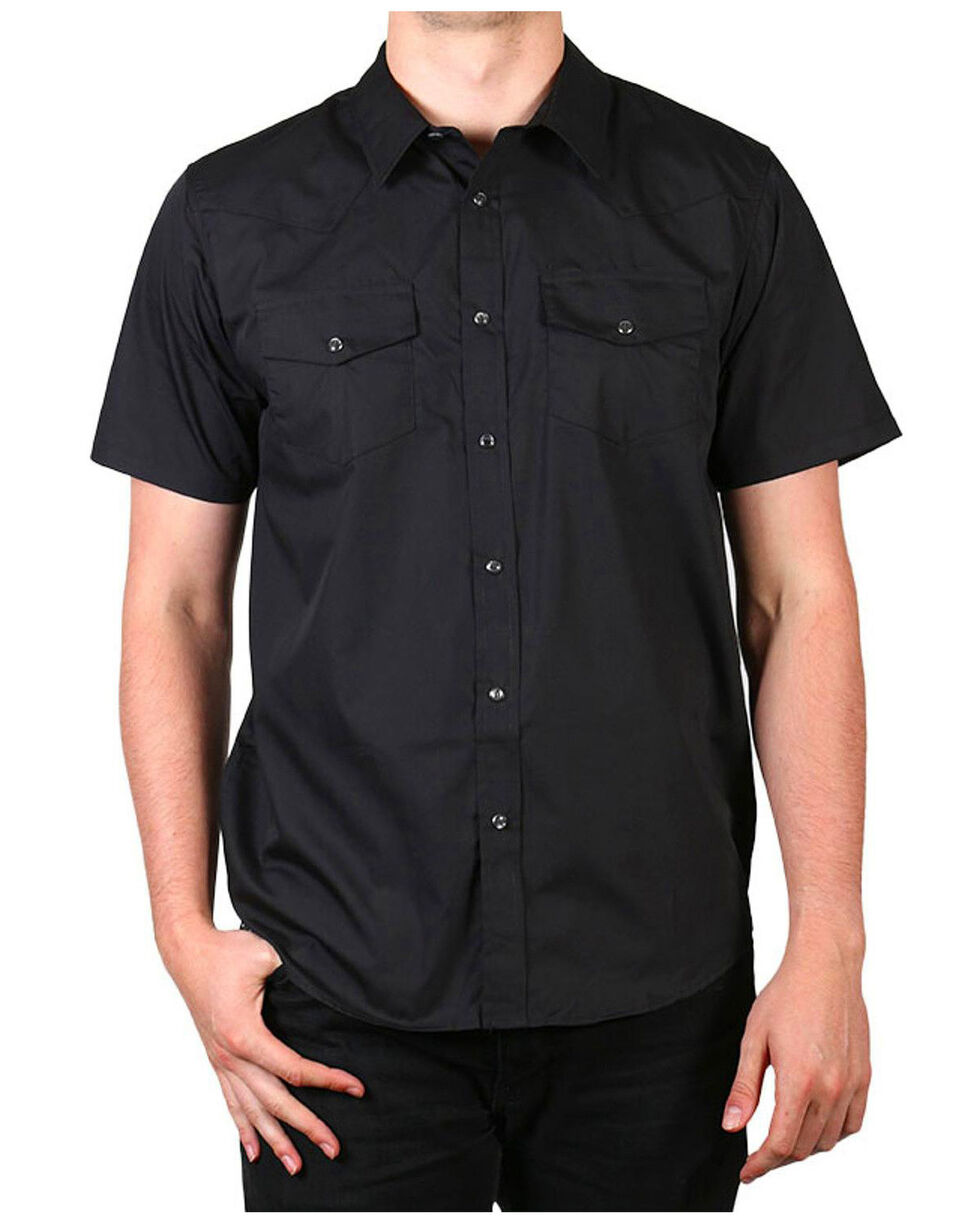 Gibson Men's Solid Short Sleeve Shirt - Tall, Black, hi-res