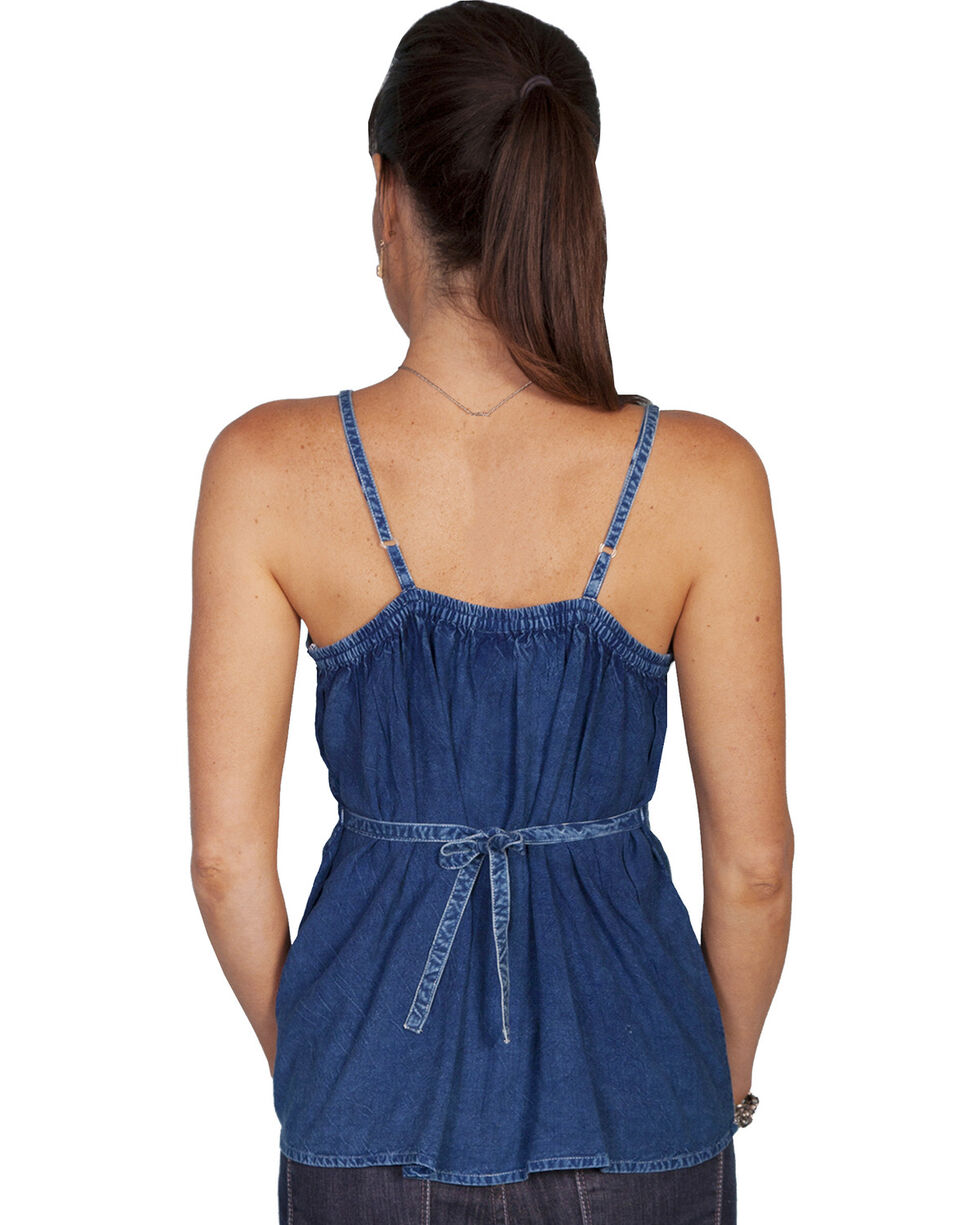 Scully Women's Embroidered Tank Top, Denim, hi-res