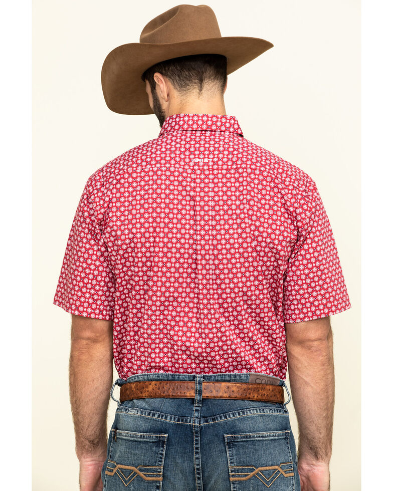 Ariat Men's Nedmond Stretch Geo Print Short Sleeve Western Shirt - Tall , Red, hi-res