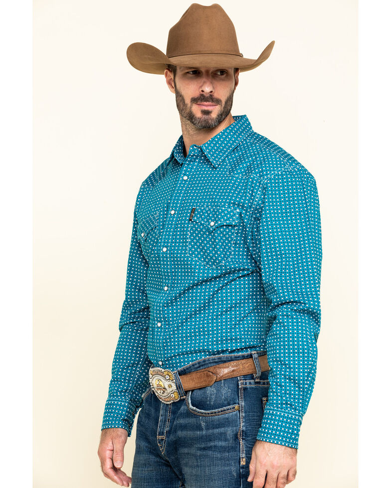 Cinch Men's Modern Fit Blue Small Geo Print Long Sleeve Western Shirt , Blue, hi-res
