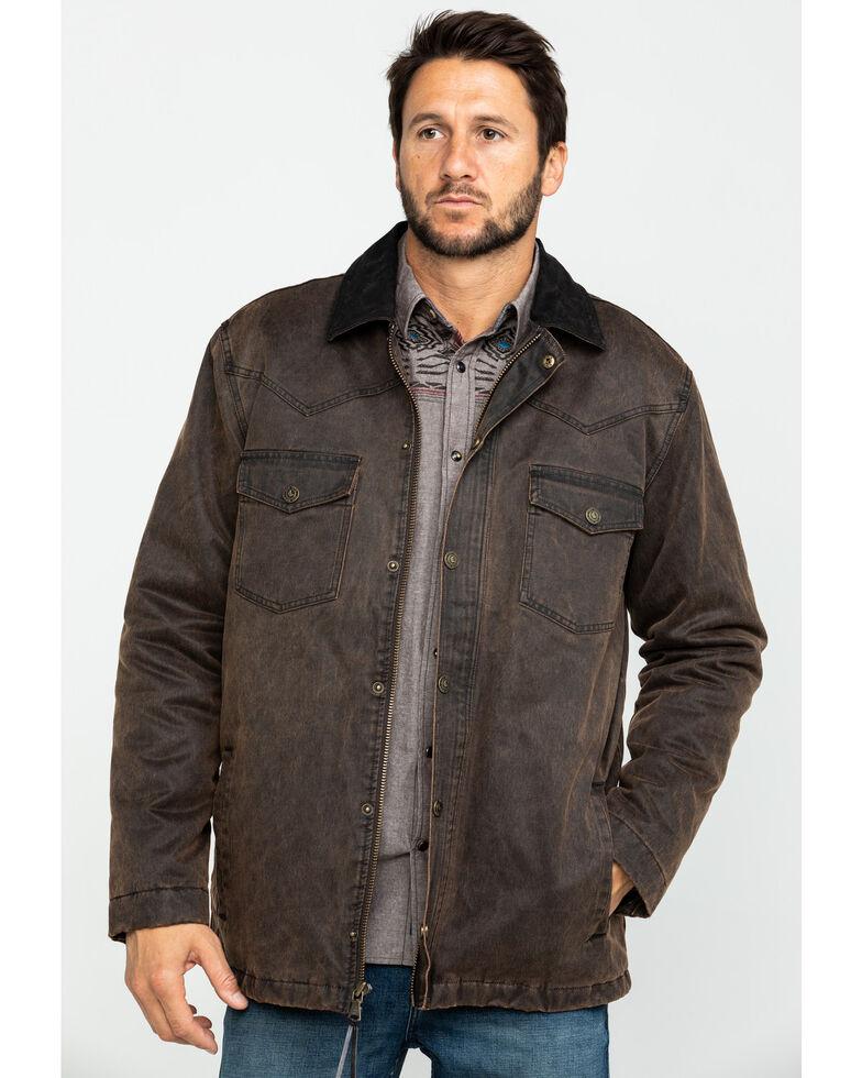 Cody James Men's Westward Oil Skin Field Coat - Big , Brown, hi-res