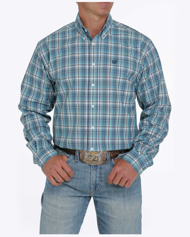 Cinch Men's Blue Plaid Long Sleeve Button-Down Western Shirt - Big, Blue, hi-res
