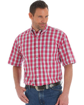 George Strait by Wrangler Men's Red Plaid Short Sleeve Button Down Shirt, Red, hi-res