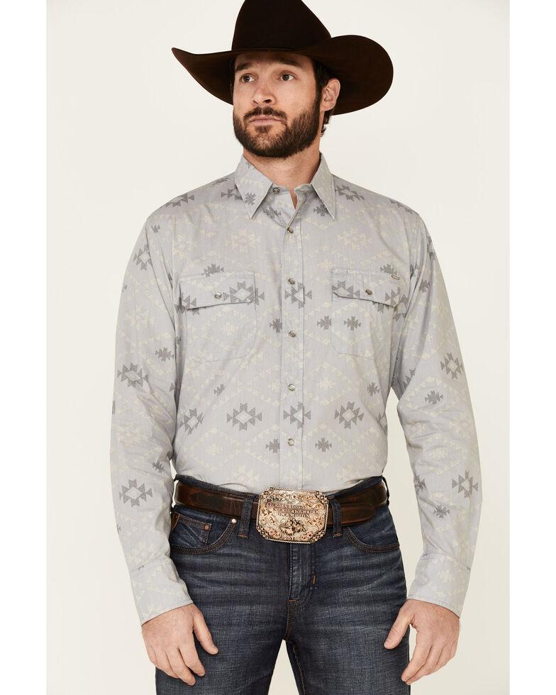 Tin Haul Men's Grey Aztec Textured Print Long Sleeve Snap Western Shirt , Grey, hi-res