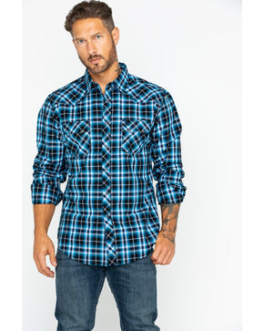 Wrangler Retro Men's Blue Premium Plaid Long Sleeve Shirt, Black/blue, hi-res