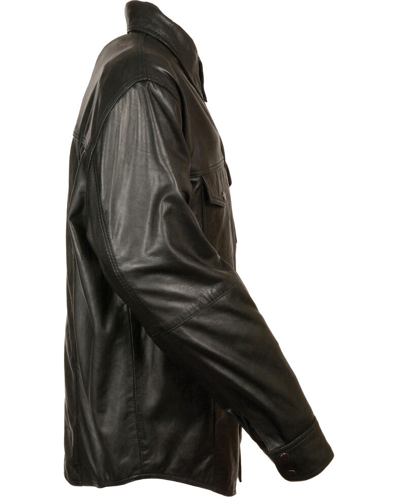 Milwaukee Leather Men's Black Lightweight Leather Shirt - Big & Tall, Black, hi-res