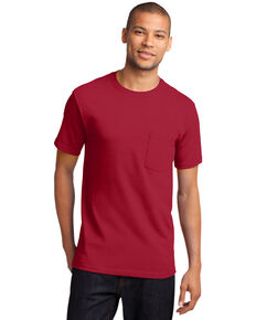 Port & Company Men's Red Essential Solid Pocket Short Sleeve Work T-Shirt , Red, hi-res