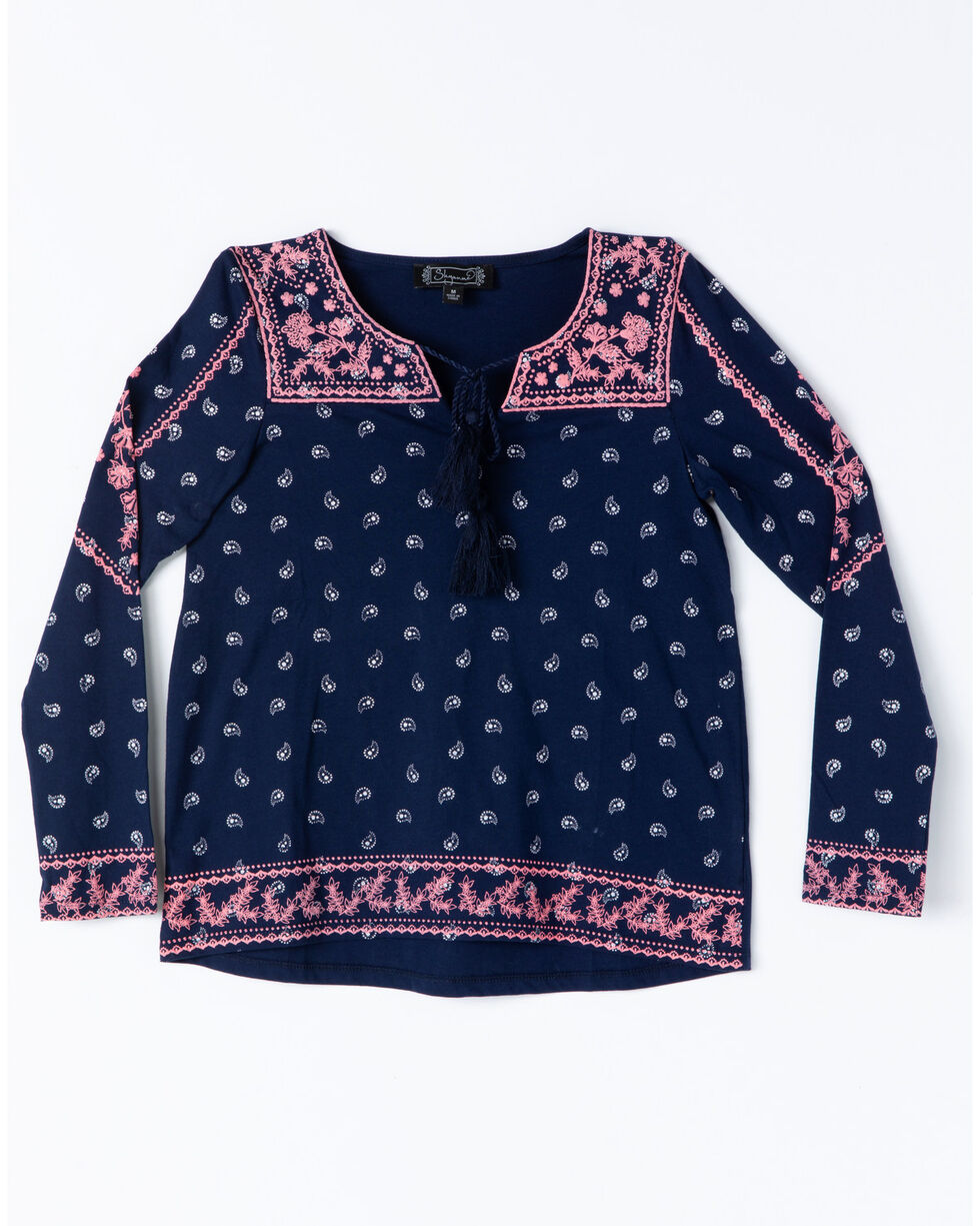 Shyanne Girls' Peasant Puff Print Tie-Up Knit Top , Navy, hi-res