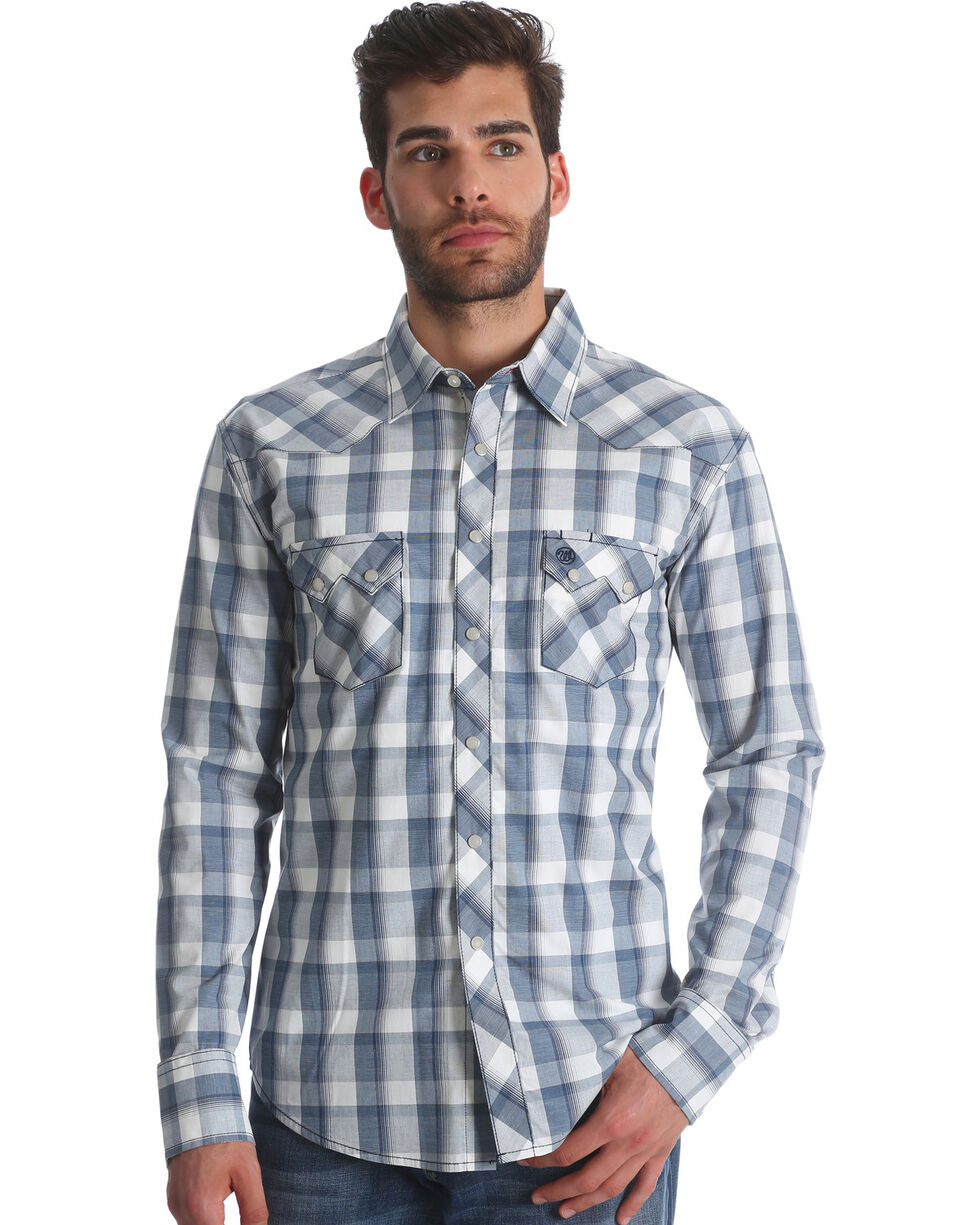 Wrangler Retro Men's Plaid Sawtooth Pocket Snap Shirt, Blue, hi-res