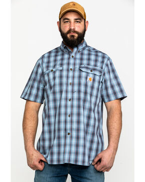 Carhartt Men's Blue Rugged Flex Rigby Plaid Short Sleeve Work Shirt , Blue, hi-res