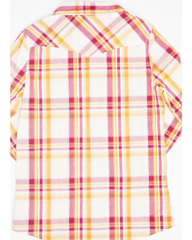 Shyanne Girls' Ivory Plaid Long Sleeve Western Flannel Shirt , Ivory, hi-res