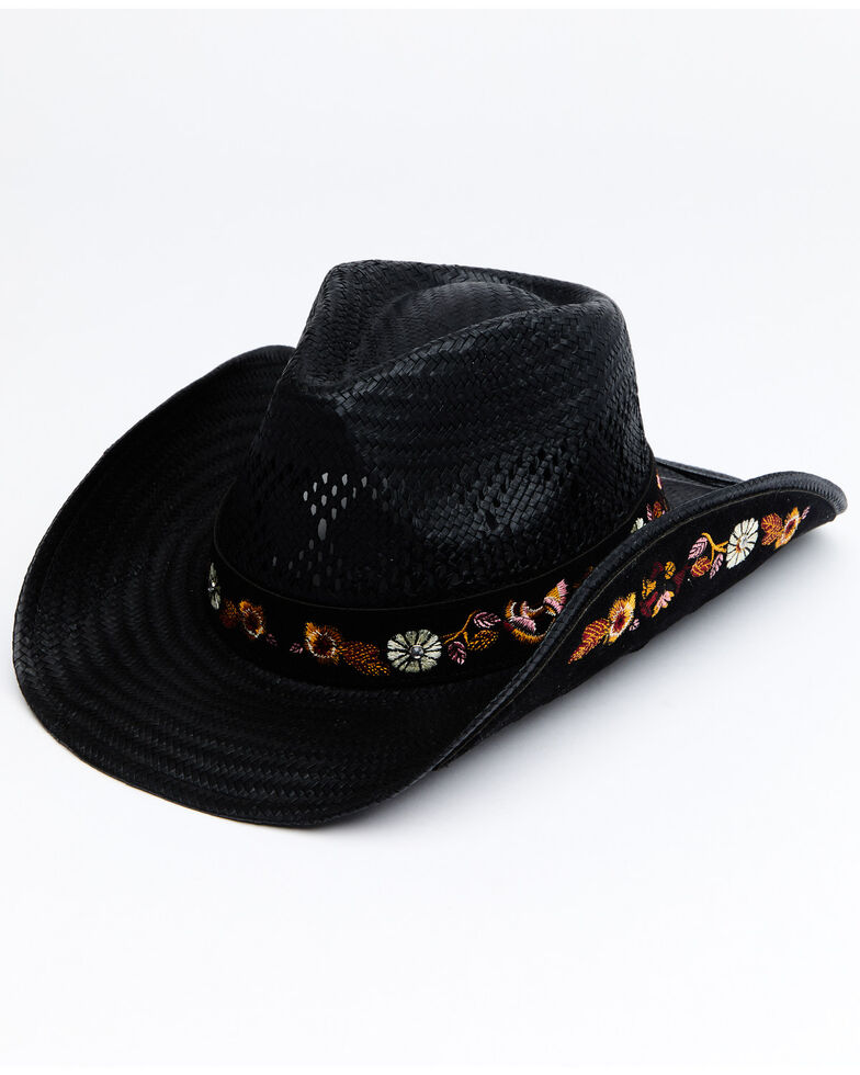 Shyanne Women's Black Ames Straw Drifter Western Hat , Black, hi-res