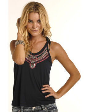 Rock & Roll Cowgirl Women's Jeweled Halter Top, Navy, hi-res