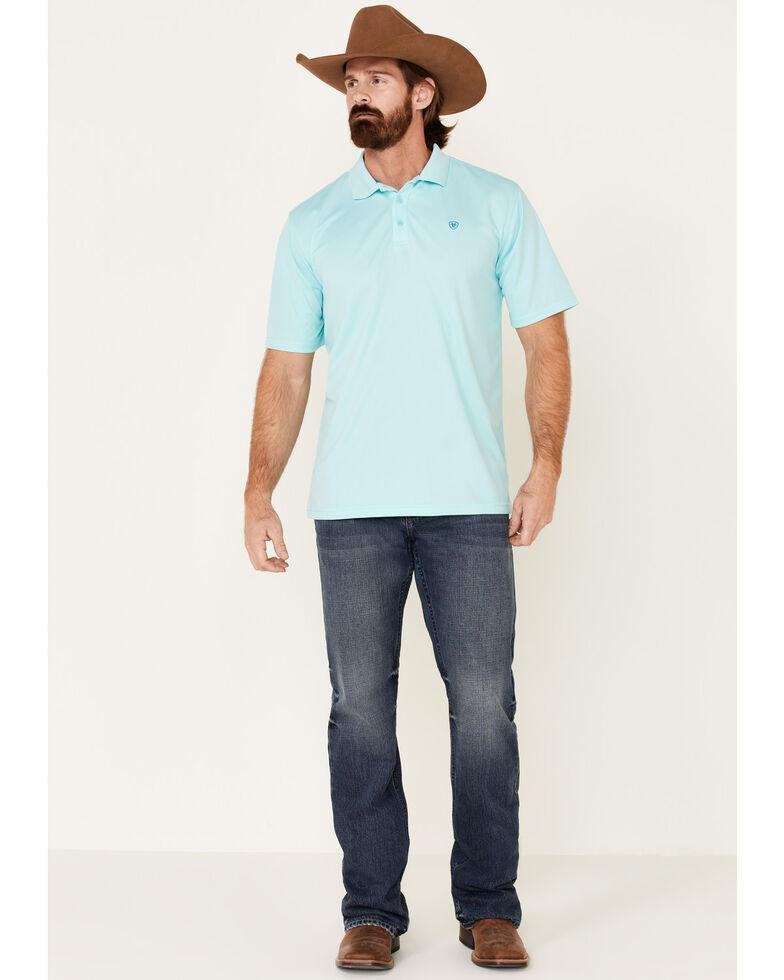 Ariat Men's Aqua Blue Tek Short Sleeve Polo Shirt - Big , Blue, hi-res