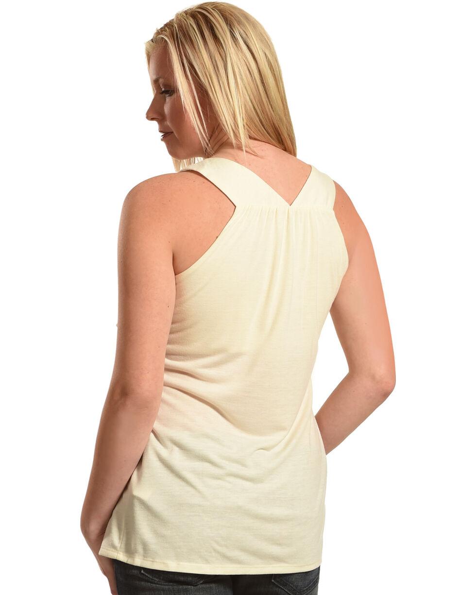 Wrangler Women's Sleeveless Stone Embellished Top, Natural, hi-res