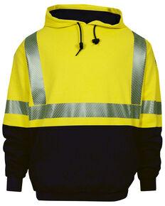 National Safety Apparel Men's FR Vizable Hi-Vis Hybrid Hooded Work Sweatshirt - Tall , Bright Yellow, hi-res